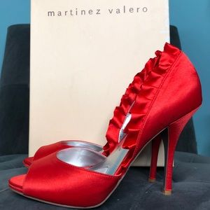 Martinez Valero Red Satin Peep Toe Heels